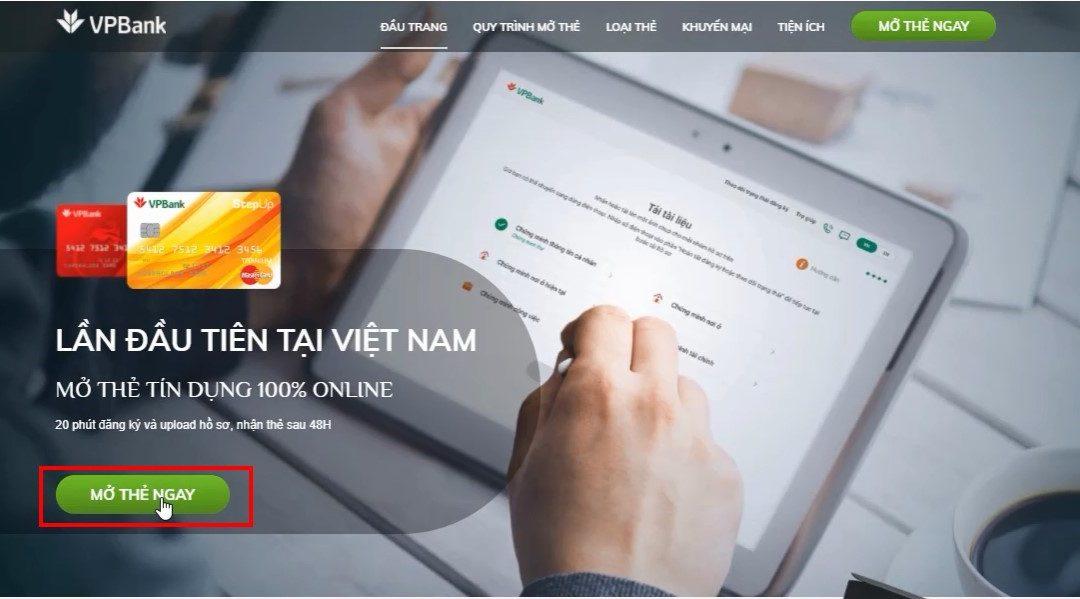 Hướng dẫn đăng kí mở thẻ tín dụng VPbank online